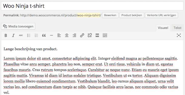 Productnaam en lange beschrijving invullen in WordPress