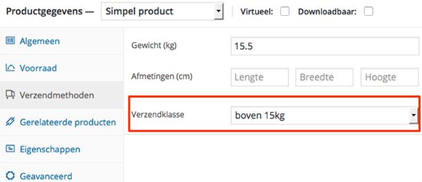 Verzendklasse selecteren bij een product