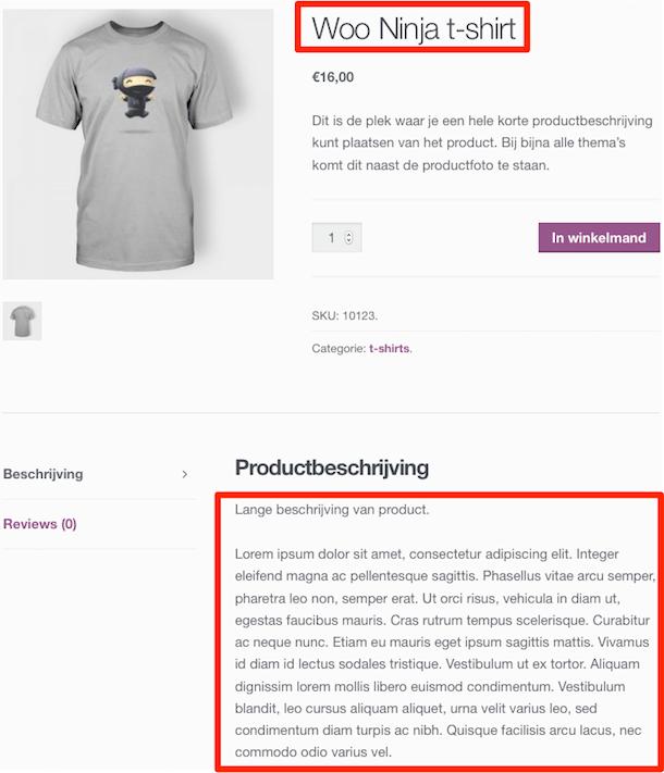 Productnaam en beschrijving op webshop
