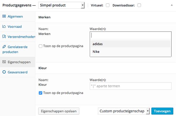 Termen eigenschappen selecteren in WooCommerce