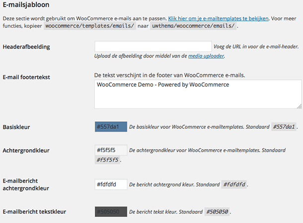 WooCommerce emailsjabloon