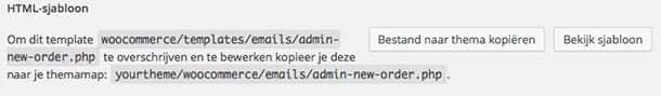 WooCommerce HTML e-mailsjabloon kopiëren naar thema