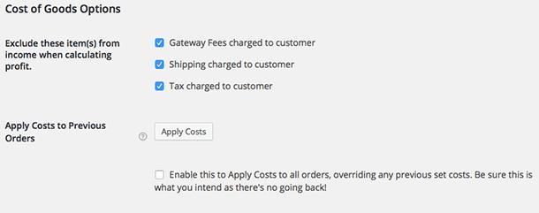 Cost of goods instellingen in WooCommerce