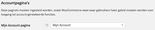 Mijn account pagina WooCommerce