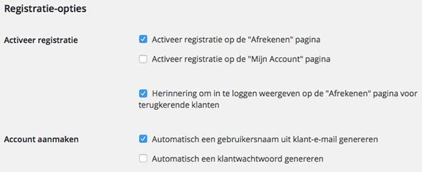 WooCommerce registratie opties