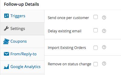 Follow up e-mail instellingen