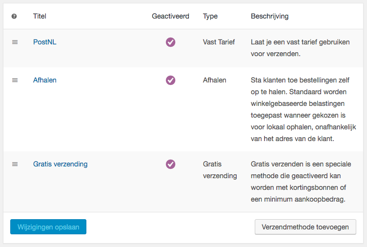 verzendmethoden woocommerce