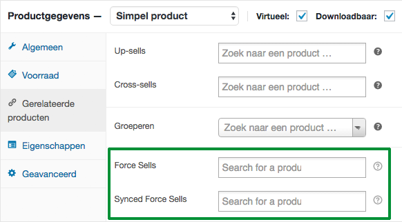 force sells - verplichte producten in woocommerce